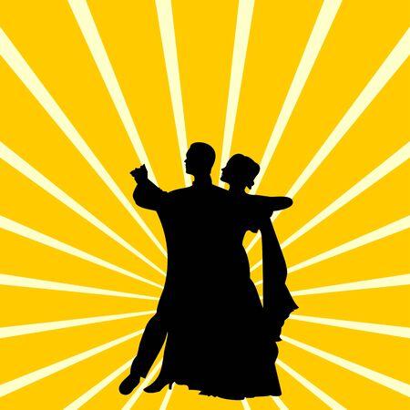afbeelding van het silhouet van een paar dansen wals  Stock Illustratie