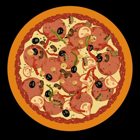pepperoni: Realistic illustration pizza on black background