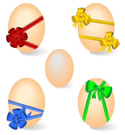 ovum: Realistic illustration of set by Easter eggs with bows