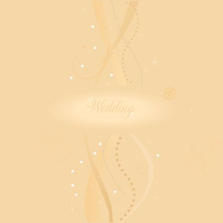 A beautiful beige wedding card.  Vector