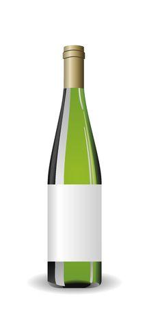winetasting: Illustration white wine bottle with label Illustration