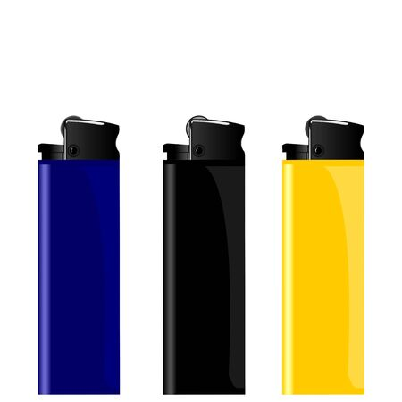 igniter: Realistic illustration three colored lighter