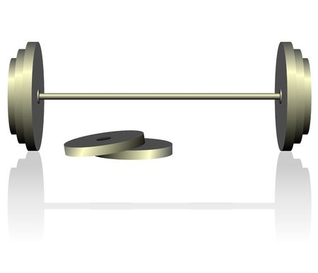 barre: dumbbell is isolated on white background