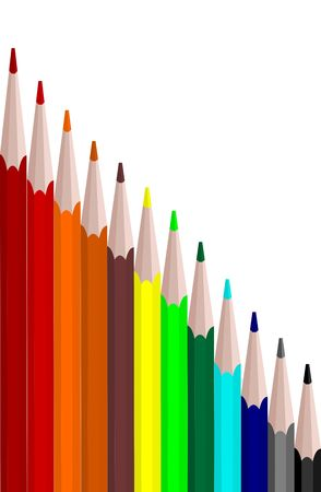colors set pencils are isolated on white background Vector