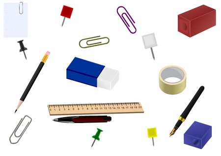 pencil sharpener: Realistic illustration of set office goods