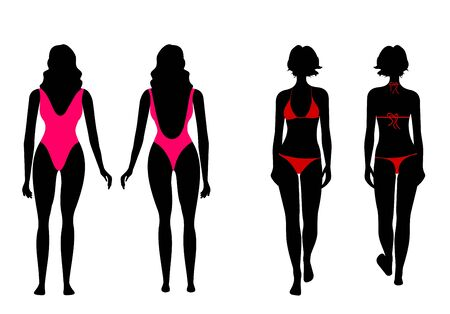 bathing suit: silhouettes of women in bathing suit