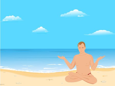 meditates: yoga: the man sits on a beach and meditates