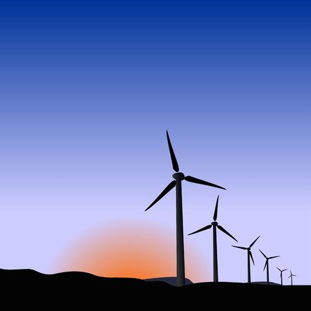 land development: Realistic illustration wind generators of sunrise Illustration