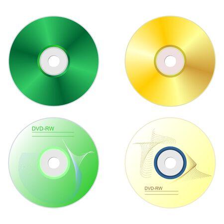 on both sides: Realistic illustration set DVD disk with both sides