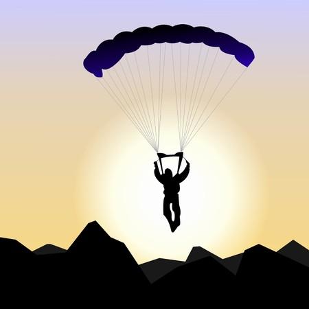 safety harness: Realistic illustration parachutist of sunrise
