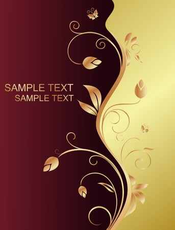 gold swirls: Floral background for design holiday card