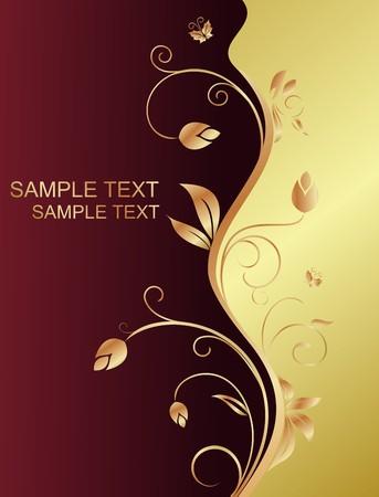 red swirl: Floral background per progettazione holiday card  Vettoriali