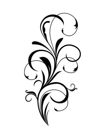 filigree: Illustratie van zwarte bloemen element Stock Illustratie