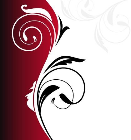 red swirl: Illustrazione floral background scheda per il design