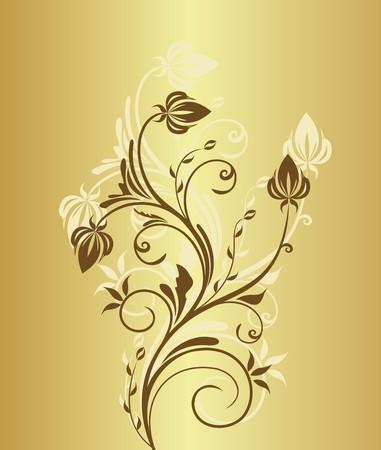 Illustration of gold floral vintage background for design invitation  Vector