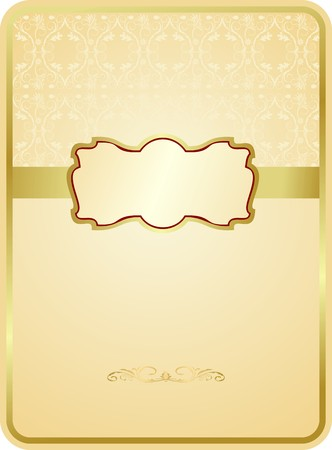 Wedding card with gold emblem Vector