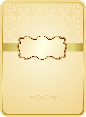Wedding card with gold emblem Vector