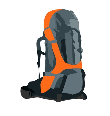 hiking mountain: Realistic illustration of tourism backpack