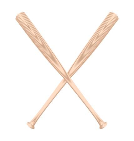 Realistic illustration of two baseball bat  Vector