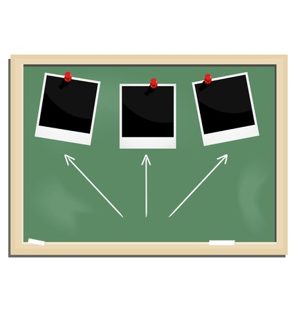 slate: Realistic illustration school blackboard with marked frame isolated on white background