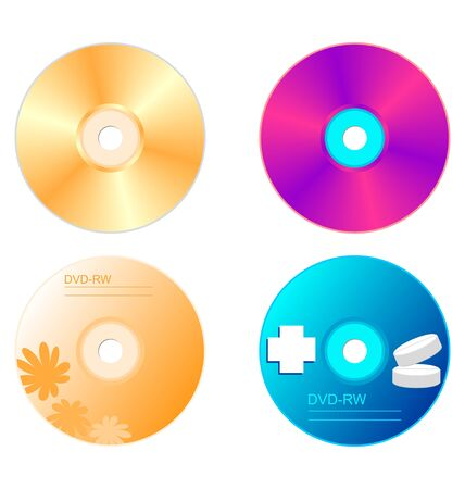 Realistic illustration set DVD disk with both sides  Vector