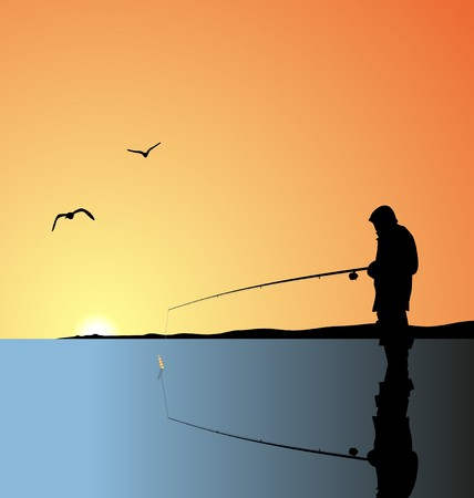 atrapar: Pesca de la ilustraci�n realista a orillas de lago en un amanecer
