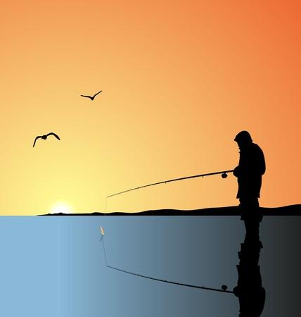 gevangen: Realistische afbeelding visserij op meer bij een zons opgang