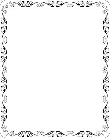 page design: Illustration blank floral frame border  Illustration
