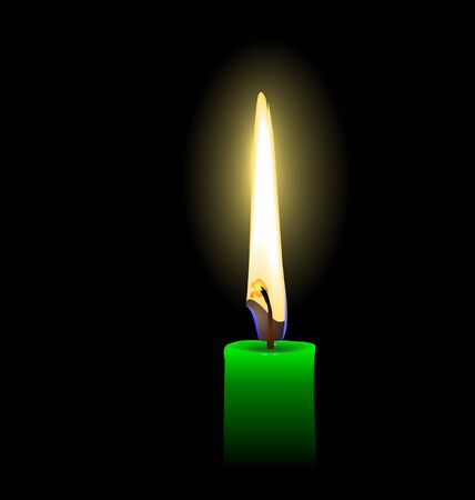 Realistic illustration of green candle  Vector
