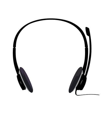 headset business: Illustrazione realistico di auricolare