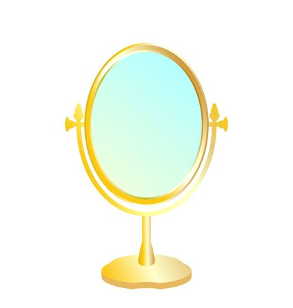 antique mirror: Realistic illustration of gold mirror