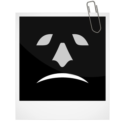 Realistic illustration photoframe with malicious smile Vector