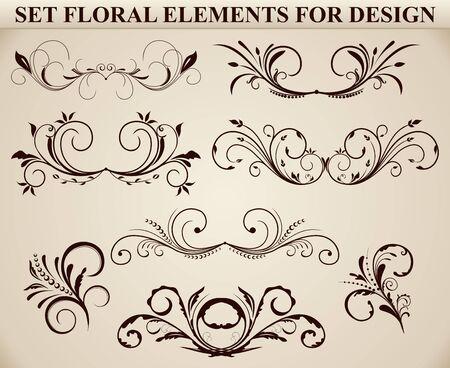 Set of ornate floral elements for design