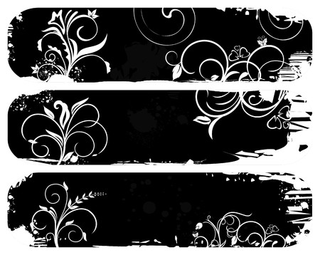Illustration of set abstract grunge banners