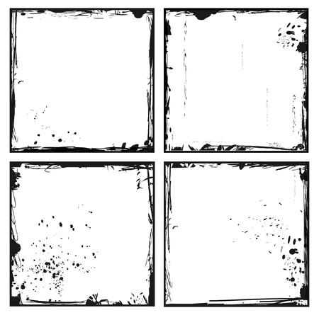 Illustration of set grunge frames