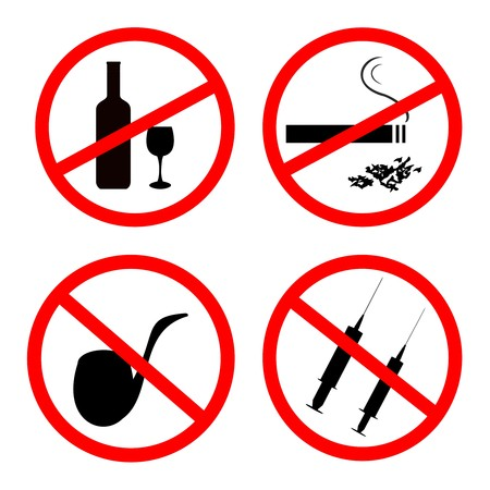 illegal substance: No smoking, No alcohol and no drugs signposts Illustration