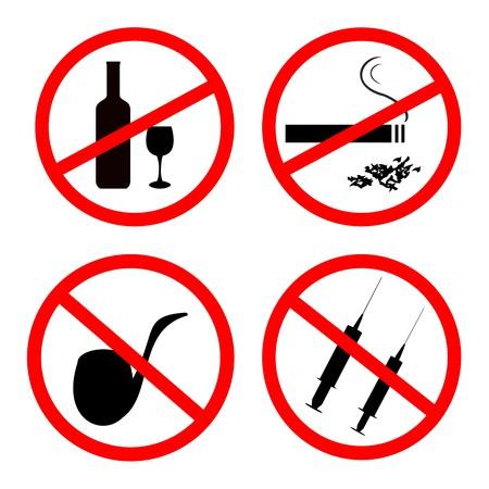 Roken niet toegestaan, geen alcohol en geen drugs weg wijzers