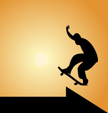 kick out: Illustration of black silhouette skateboard man and arrow on sunset background