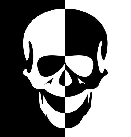 devil's bones: Illustration black and white skull