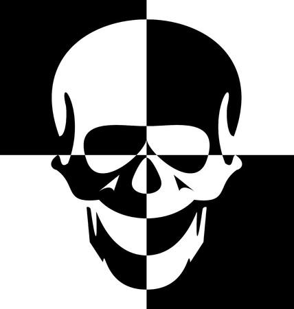 Illustration black and white skull
