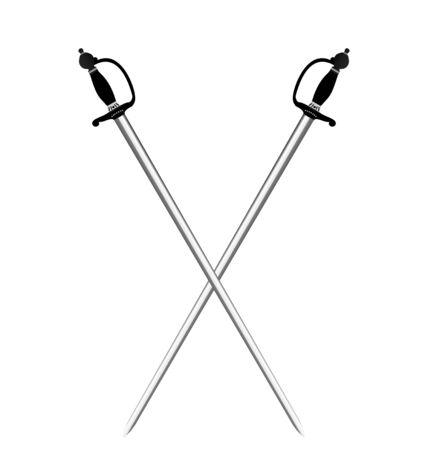 sabel: Illustratie door twee zilveren zwaarden