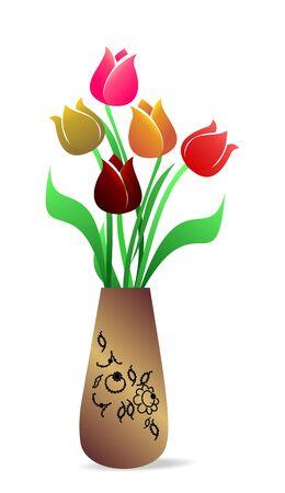 tulips isolated on white background: Illustration of beautiful vase with tulips
