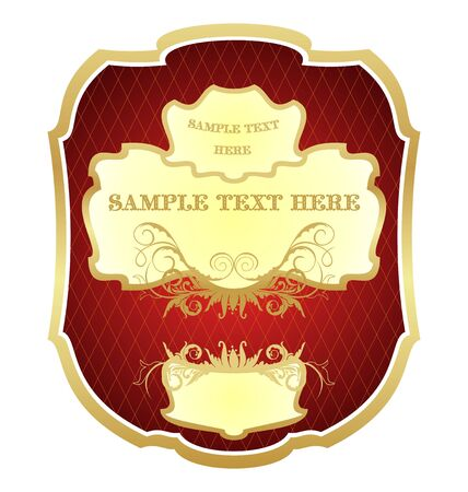 wine label: Illustration luxurious gold-framed labels isolated on white background