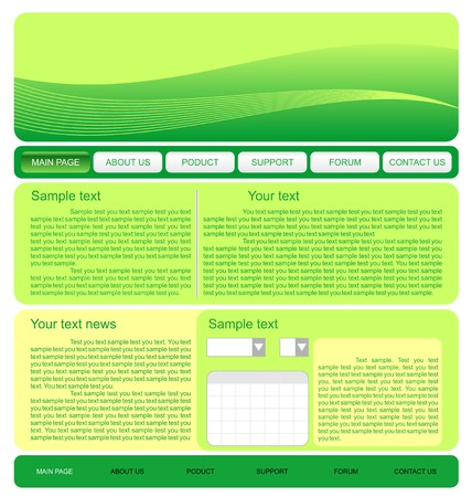 Illustration of  web site green template Stock Vector - 7589884