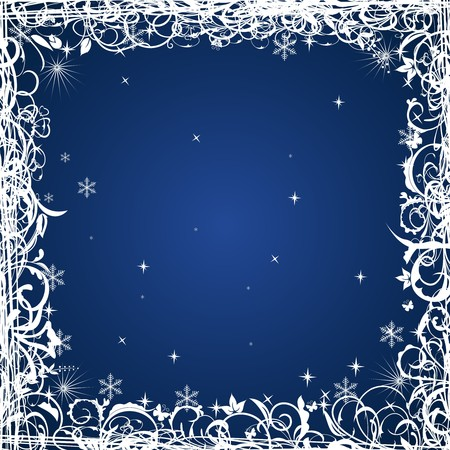 Grunge Christmas frame with snowflakes, element for design  Vector