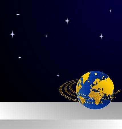 terra: Illustration of invitation card with data stream around terra planet for design Illustration