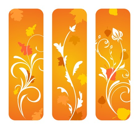 Set of vertical autumn banners. Vertical Vector