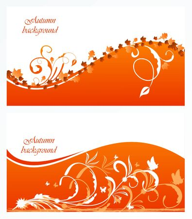 Autumn floral background with maple.  Vector