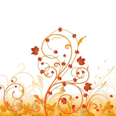 Automne ornement floral avec des feuilles.