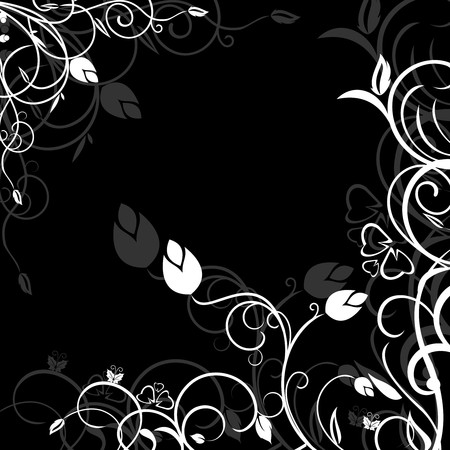 swirly design: Illustration of floral greeting card.